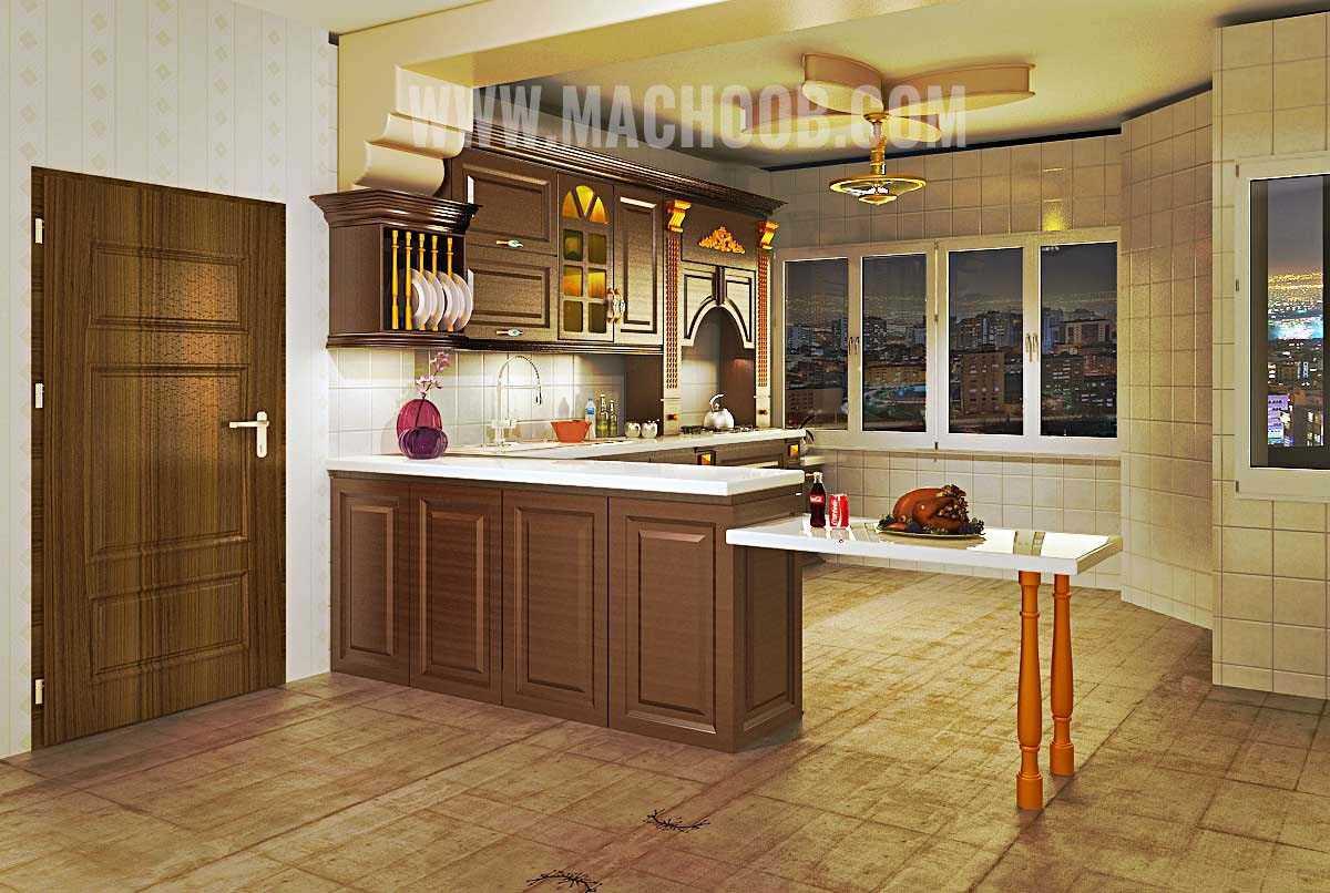 پروژه کابینت آشپزخانه روکش چوب ماچوب (آقای نیک منش)